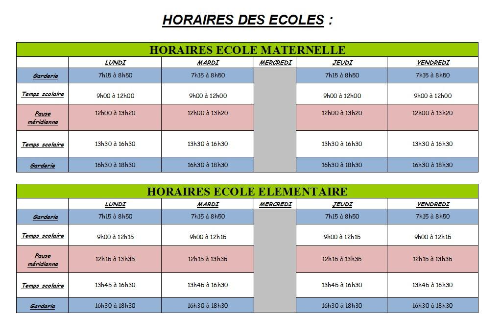 Horaires ecole